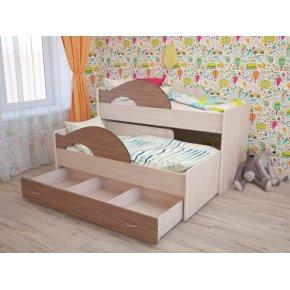"""Детская выкатная кровать  с ящиками """"Радуга"""""""