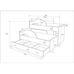 Кровать два яруса выкатная с лестницей-ящиками Радуга