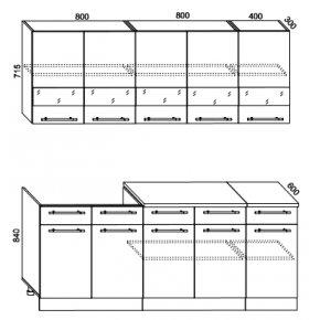 Кухонный гарнитур Олеся-2000 сонома