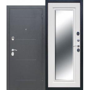 Входные двери 7,5 см GARDA Серебро Зеркало Фацет Белый ясень