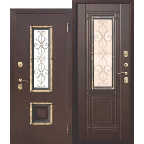 Входная металлическая дверь со стеклопакетом Венеция Венге