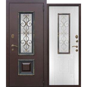 Входная металлическая дверь со стеклопакетом Венеция Белый ясень