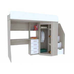 Кровать-чердак Антилия белый глянец