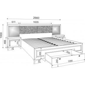 Кровать Саванна с основанием, ящиком и встроенными тумбами