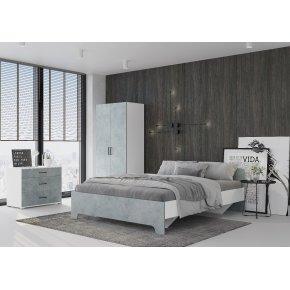 Спальный гарнитур Victor с основанием Виктор белый/бетон
